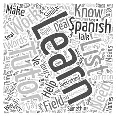 How to Learn Spanish with a Tutor word cloud concept Stock Illustration