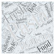 The Different Pastas in Italian Food word cloud concept Stock Illustration