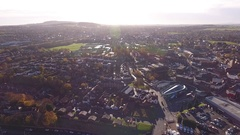 Tilting aerial view of Stourbridge from the Clent Hills. Stock Footage