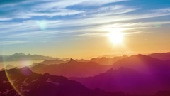 Verbier alps swtizerland mountains snow peaks ski mont fort sunrise Stock Footage