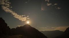 Stars pedra forca spain mountain full moon Stock Footage
