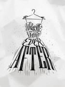 Poster wedding dress Stock Illustration