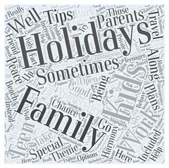 Family holidays word cloud concept Stock Illustration