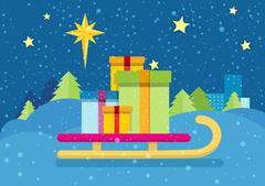 Christmas Presents on Sledge. Snowy Background Stock Illustration