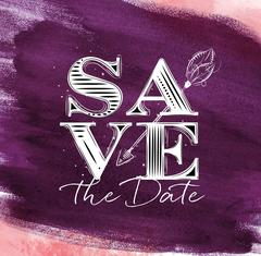 Poster wedding save date violet Stock Illustration