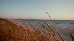 Sandy beach on a beautiful evening at the sea with words and a heart seen on the Stock Footage