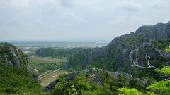Aerial view of beautiful mountains in Khao Sam Roi Yot National Park, Thailand Stock Footage