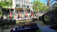 McDonald's on the Oudegracht (Old Canal) in Utrecht, the Netherlands in 4K Stock Footage