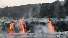 Lava ocean - flowing lava reaches ocean on Big Island - Hawaii volcano eruption Stock Footage