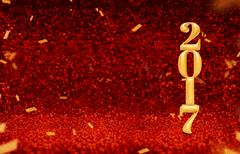 New year 2017 (3d) gold color at perspective red sparkling glitter Kuvituskuvat
