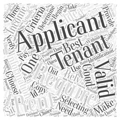 Establishing Valid Criteria for Selecting Tenants word cloud concept Stock Illustration