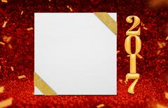 Poster with ribbon and gold 2017 year (3d rendering) at perspective red glitter Stock Photos