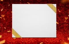 Poster with ribbon at perspective red sparkling glitter with gold confetti Kuvituskuvat