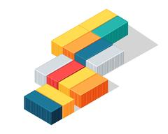 Sea Containers in Isometric Projection Vector Stock Illustration