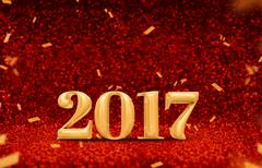 Happy new year 2017 (3d) at perspective red sparkling glitter with gold confetti Kuvituskuvat