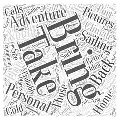 Personal equipment for adventure sailing vacation in a cold climate word cloud c Stock Illustration