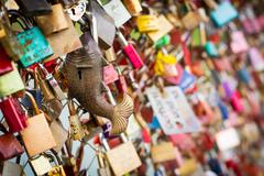 Lovers' padlocks Stock Photos