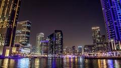 Popular district of Dubai Marina at night.  Time lapse. Dubai, UAE. Stock Footage