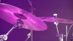 Drum kit at concert. close-up Stock Footage