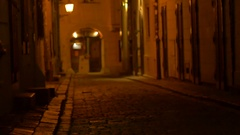Girl Walking on Medieval Street Stock Footage