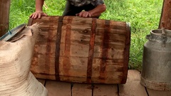 Wooden barrel for cucumbers Stock Footage