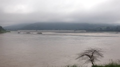 Beautiful nature along Mekong river, Kaeng Khut Khu, Chiang Khan ,Loei, Thailand Stock Footage