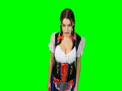 Girl in Bavarian costume shows thumb up. Green screen. View from above Stock Footage