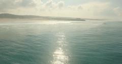Romantic Sunset Aerial Ocean Coast Water Sun Reflection Horizon Love Concept Stock Footage