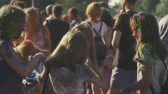 Children in the paint at the festival Stock Footage