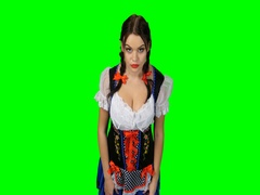 Bavarian girl in a suit shows emotion of surprise. Green screen Stock Footage