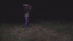 Fugitive Surrendering In Light from Drone Stock Footage