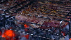 Pieces of meat in the grill roasting on hot coals Stock Footage