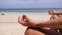 Serenity and Yoga Practicing at Beach, Meditation by Sea Stock Footage
