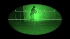 Fugitive with weapon at night Stock Footage