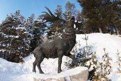 Samarovsky outlier. Archeopark. Giant deer. Stock Photos