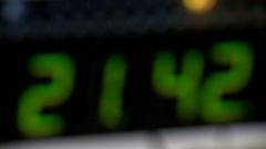 Green clock with an electronic scoreboard Stock Footage