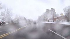 POV point of view - Driving in first snow storm of the season. Stock Footage
