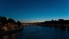 Beautiful peaceful sunset over the Seine river in Paris, France Stock Footage