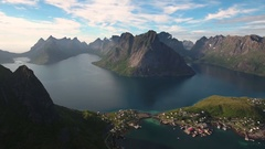 Lofoten islands is an archipelago in the county of Nordland, Norway. Is known fo Stock Footage