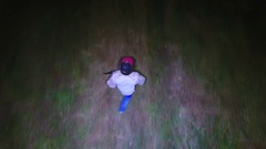 Drone Hunting Fugitive on The Run at Night Stock Footage