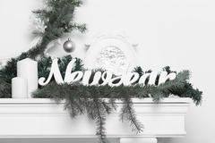Christmas decoration in white and green Stock Photos