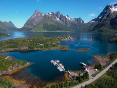 Aerial footage Beautiful Nature Norway. Flying over the lakes and fjords.View fr Stock Footage