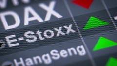 The stock index of Eurozone stocks designed by STOXX. Up. Looping. Stock Footage