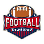 Football college league. Emblem template with football ball. Rug Stock Illustration