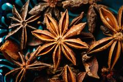Anise star spice extreme close-up, top view Stock Photos