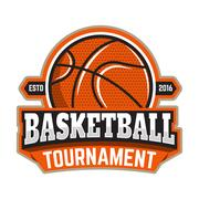 Basketball tournament. Emblem template with basketball ball. Des Piirros