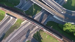 View from the bird's flight on the fast moving suburban electric train on the br Stock Footage