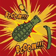 Comic style Grenade explosion. Design element for poster, flyer Stock Illustration