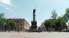 Belarus. Brest. 15 July 2015. Millennium Monument of Brest. Taymlaps. Stock Footage