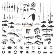 Set of Fishing labels design elements. Rods and  fish icons. Des Stock Illustration